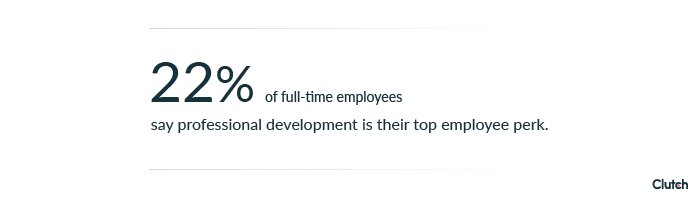22% of full-time employees say professional development is top employee perk