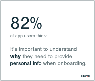 Data point about personal info with app onboarding