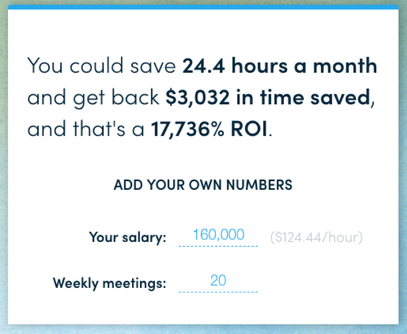AI scheduling assistant hours and money saved; ROI