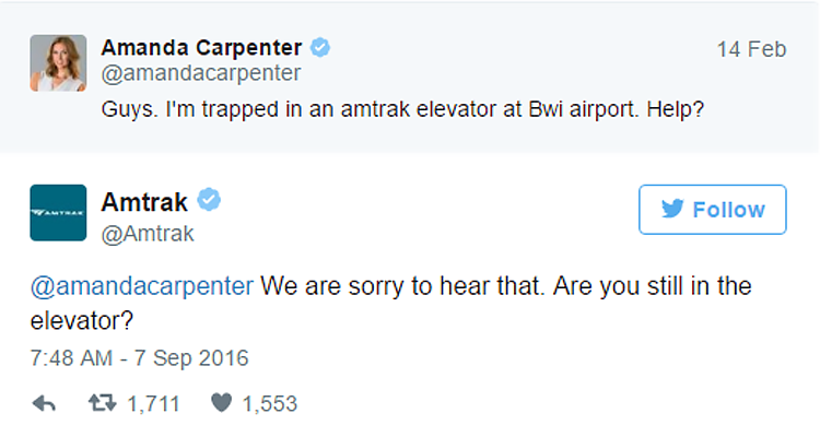 Tweet from Amtrak customer stuck in elevator