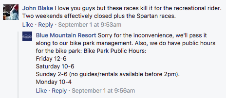 Blue Mountain Resort Facebook comment repsonses