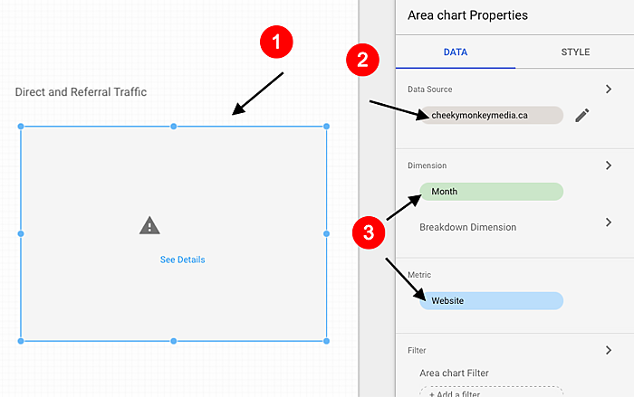 steps to visualize KPIs in Google Data Studio