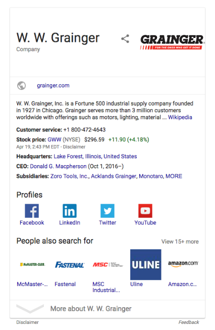 WW Grainger knowledge graph schema