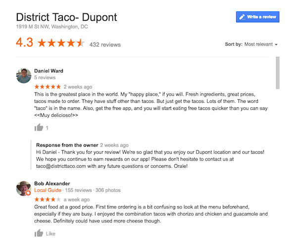 District Taco reviews google search