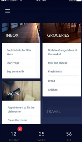 Everlist app grid layout is an example of an important mobile app feature