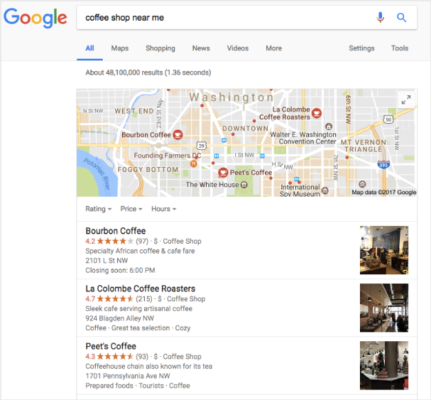 google near me search for a coffee shop