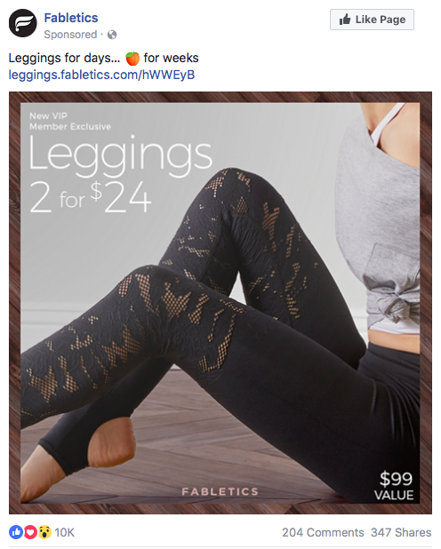 Fabletics Facebook avertisement