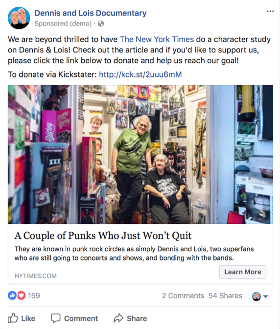 Facebook ad - New York Times coverage
