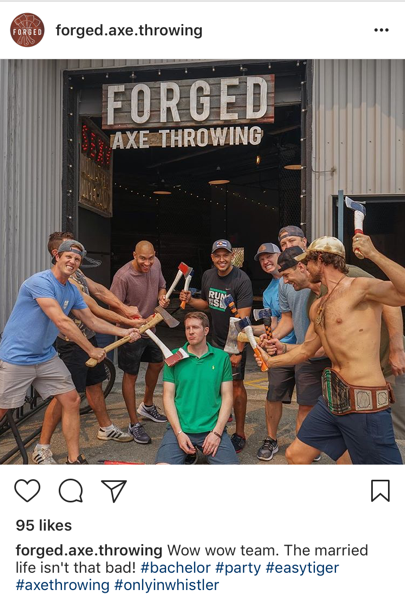 Forged Axe Throwing Instagram post