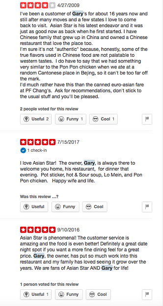 positive reviews of Chinese restaurant