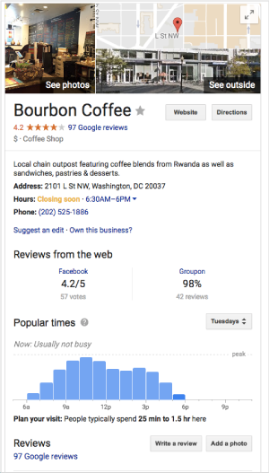google local business pages show helpful information about your company