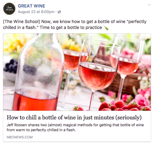 GREAT WINE Facebook post