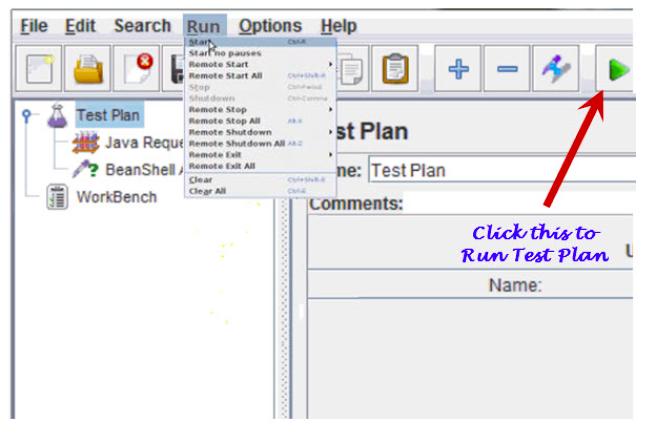 "Click ""Start,"" or the green start arrow below the main menu, to begin the test."
