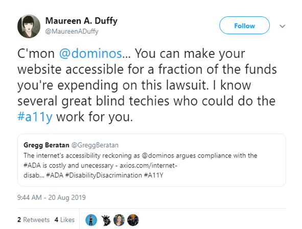 Domino's Twitter Web Accessibility