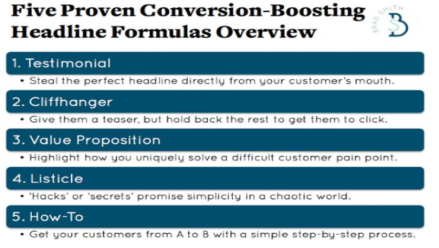 five proven conversion-boosting headline formulas overview