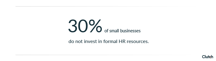 30 percent of small businesses do not invest in formal HR resources