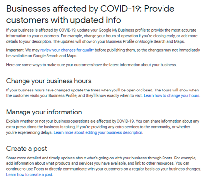 businesses affected by COVID-19: Provide customers with updated info
