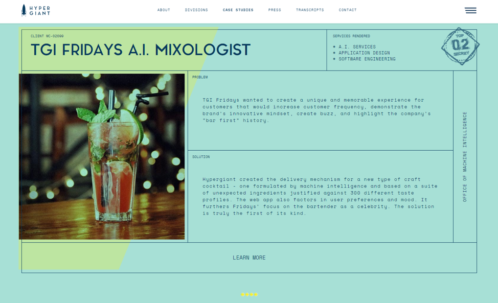 web developer portfolio item TGI Fridays A.I. mixologist