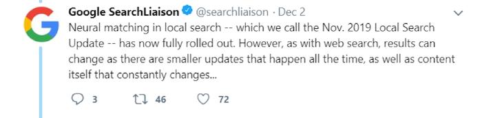 Google 2019 Local Search Update