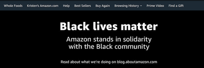 Amazon in solidarity with the Black Lives Matter movement