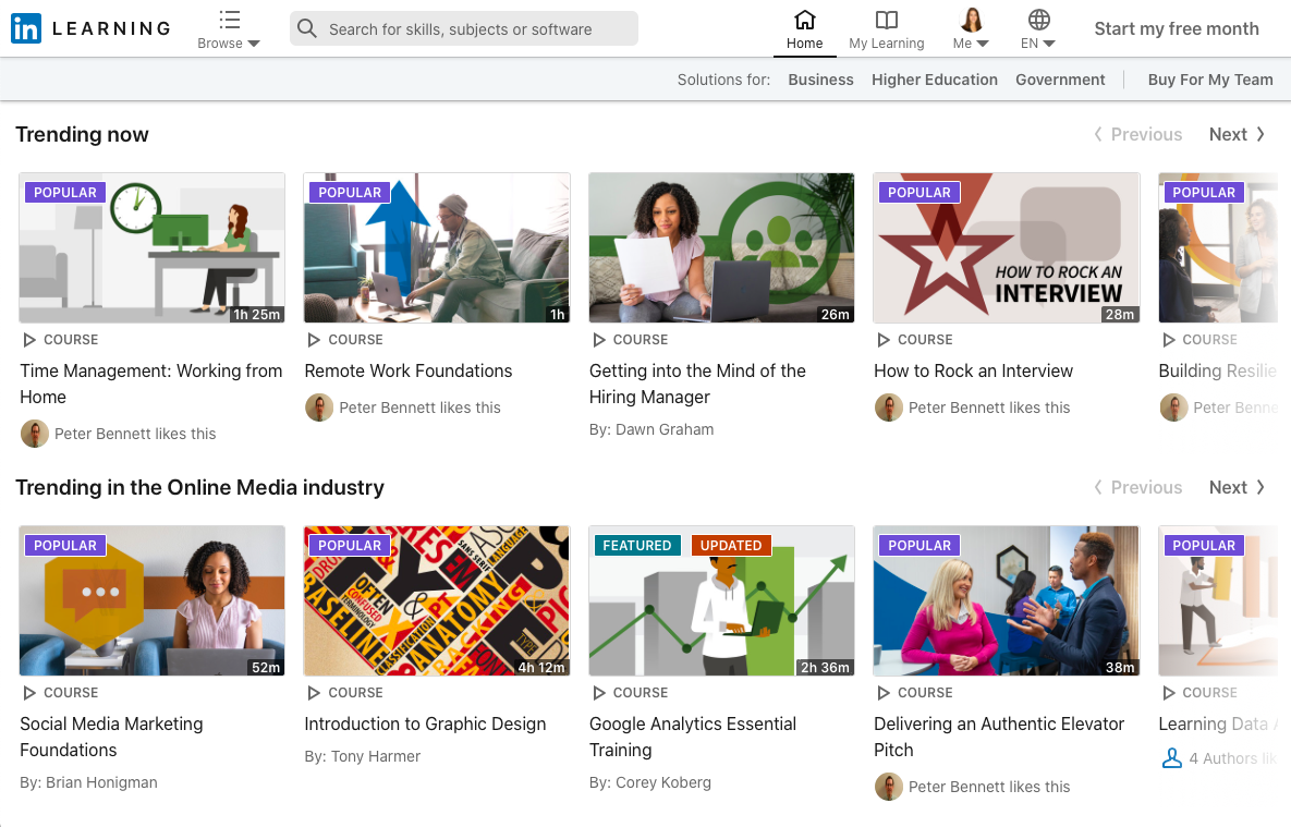 "LinkedIn Learning ""Trending Now"" courses"