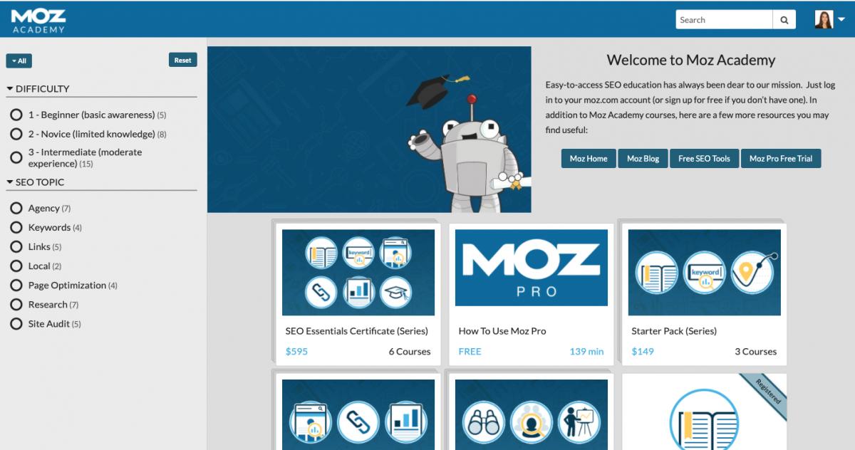 Moz Academy courses
