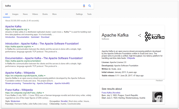 """Google personalized search """"Kafka"""" example"""
