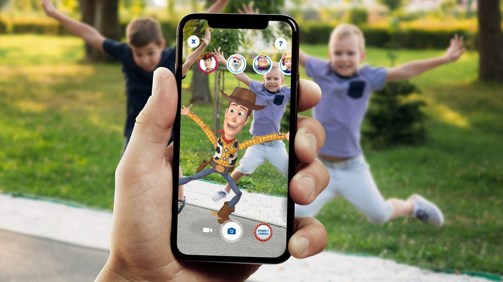 Users can take photos of them interacting with Toy Story characters.
