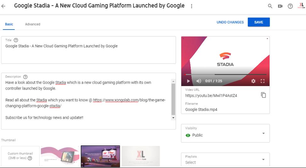 Google Stadia youtube upload