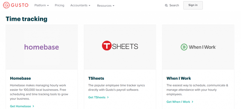 Gusto is an HRMS that integrates into other key workflow management tools, such as Homebase, TSheets, and When I work.