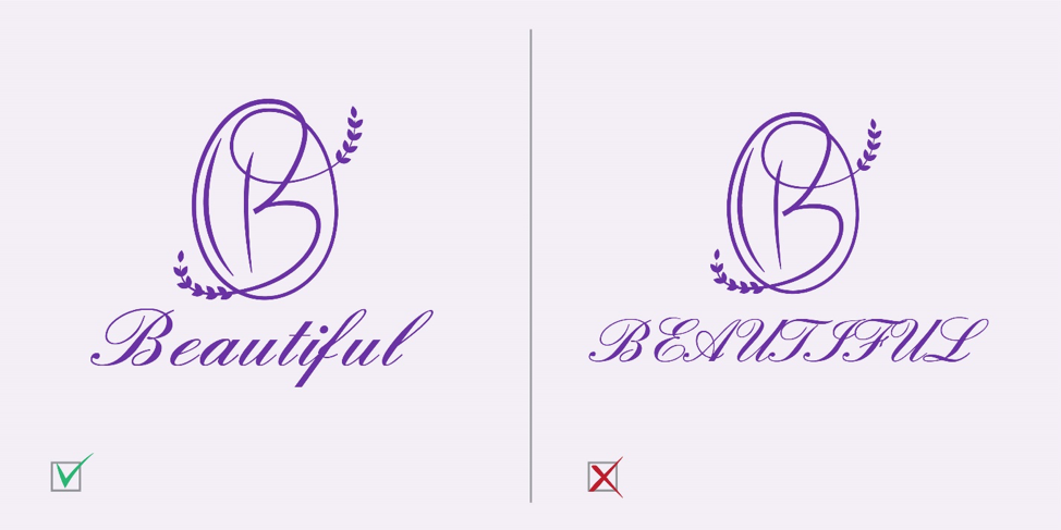 Don't Use all Capital Letters With a Calligraphy Font