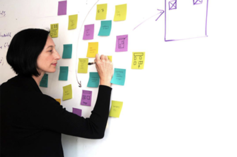 Project manager Amber Stansfield sketches out some layout options ahead of an A/B test.