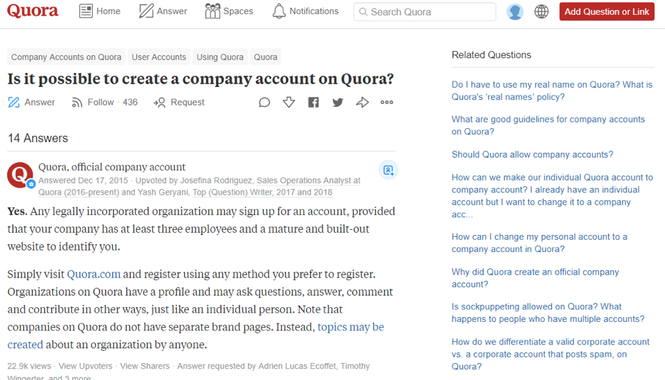 People can ask questions on Quora about a range of topics which are answered by users with that area of expertise.