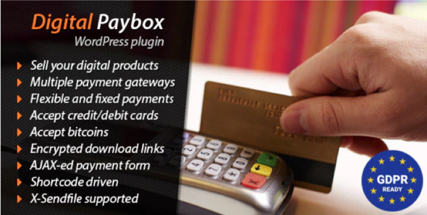 Digital Paybox allows users to sell their digital products, access multiple payment gateways, accept flexible and fixed payments, accept bitcoin, and encrypt download inks.