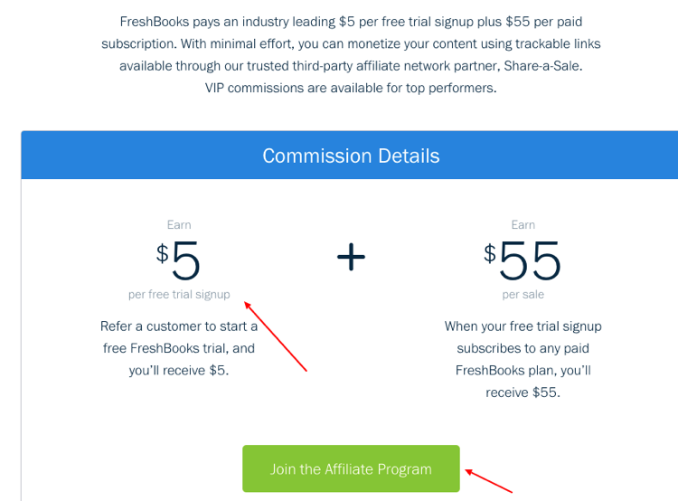 FreshBooks clearly outlines commission guidelines on its website.