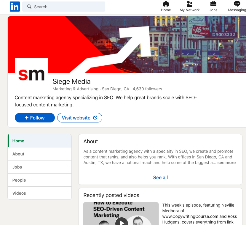Siege Media B2B service LinkedIn Business Profile