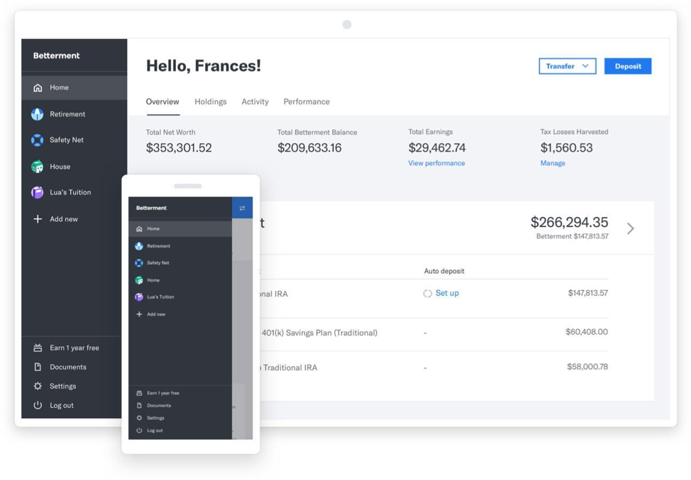 Betterment offers a dashboard where users can find a financial overview, and summaries of their holdings, activity, and performance.