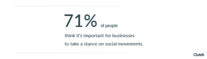 71% of people think it's important for businesses to take a stance on social movements