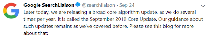 Google September 2019 core update