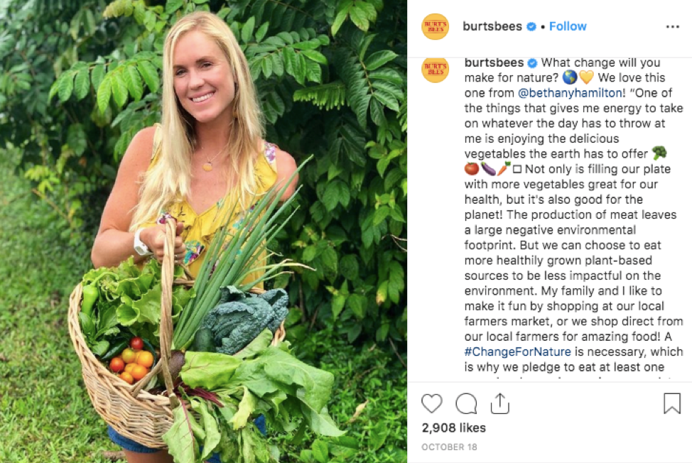 Burt's Bees is focused on their #ChangeForNature campaign and relies on social media to connect with customers with shared values.