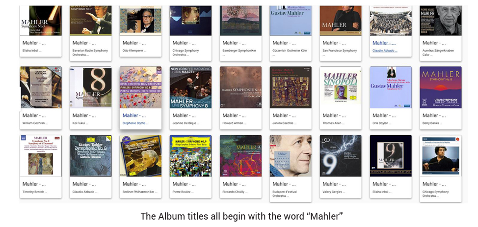 All the albums that begin with the word 'Mahler'