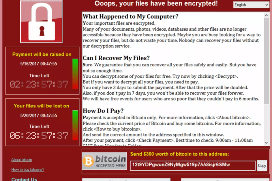 wannacry ransomware infected screen