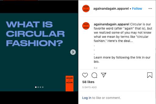 what is circular fashion again&again instagram post