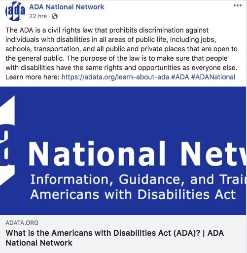 ADA National Network Facebook post