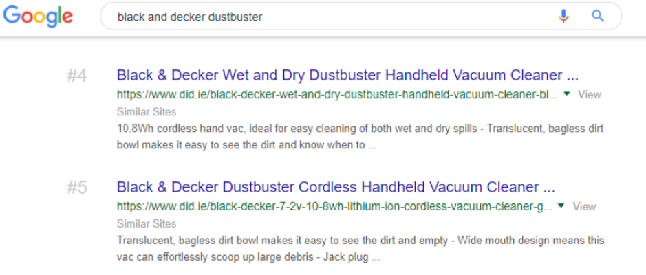 "Google search results 4 and 5 for ""black and decker dustbuster"" search query"