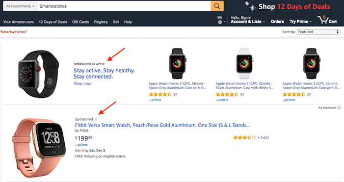 Amazon paid search ad