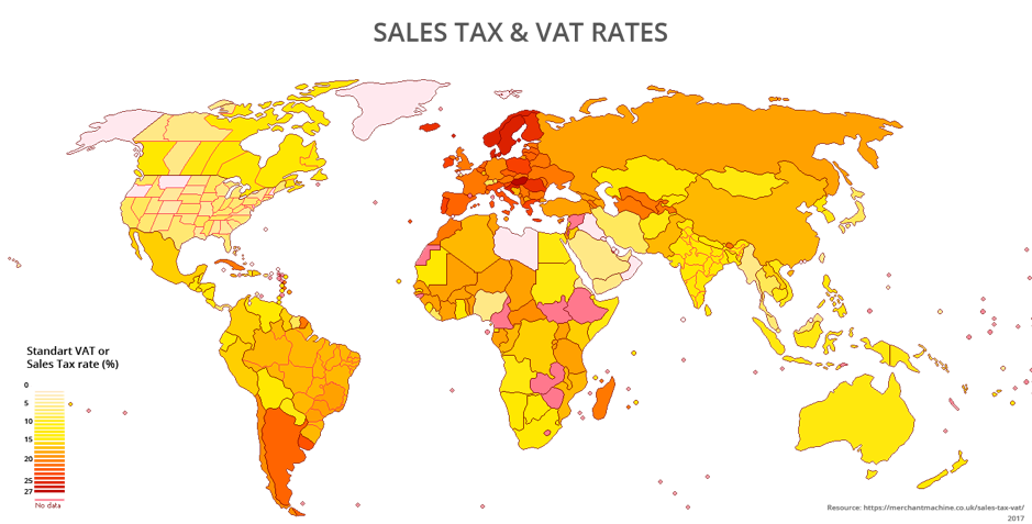Sales Tax and VAT Rates - Countries in red will have the highest, and countries in yellow will have the lowest.