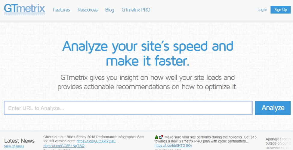 GTmetrix analyzes site speed