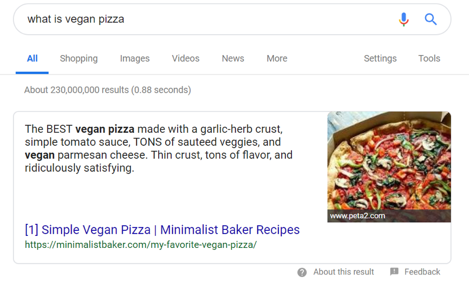 Minimalist Baker's content appears in a Google answer box.