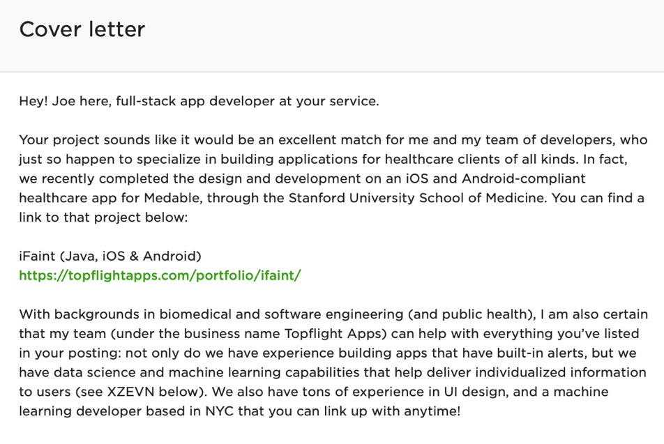 An example of a cover letter a developer might send